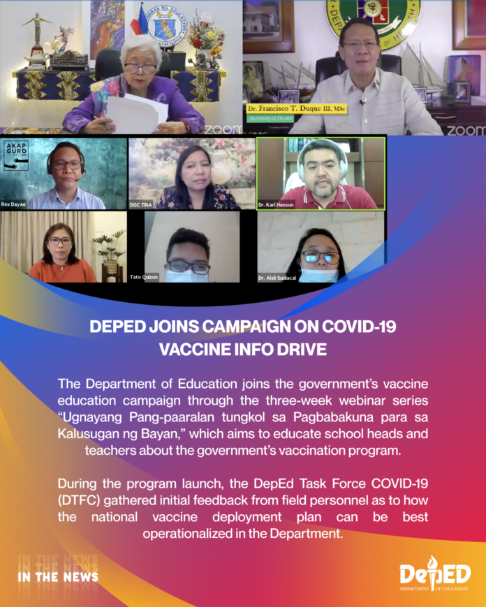 DepEd joins campaign on COVID-19 vaccine info drive