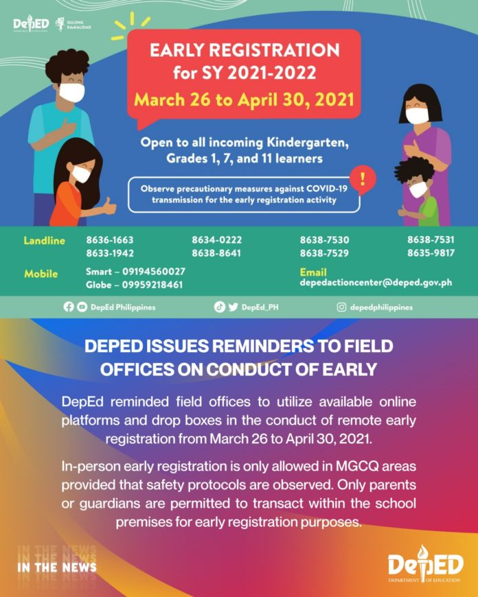 DepEd issues reminders to field offices on conduct of early registration