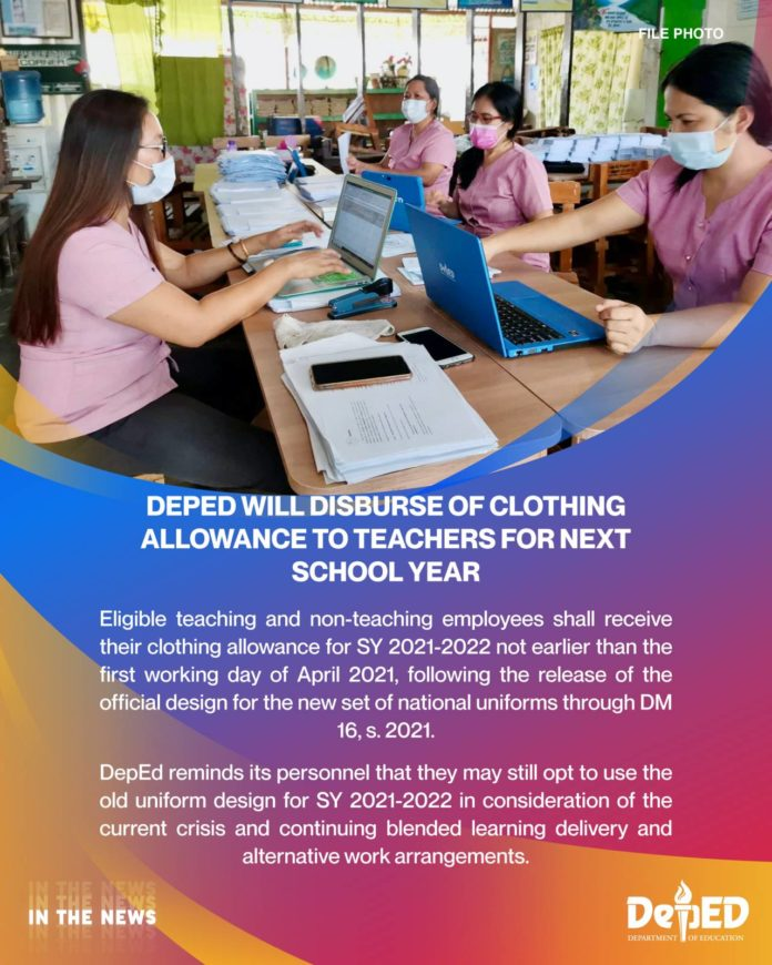 DepEd will disburse of clothing allowance to teachers for next school year