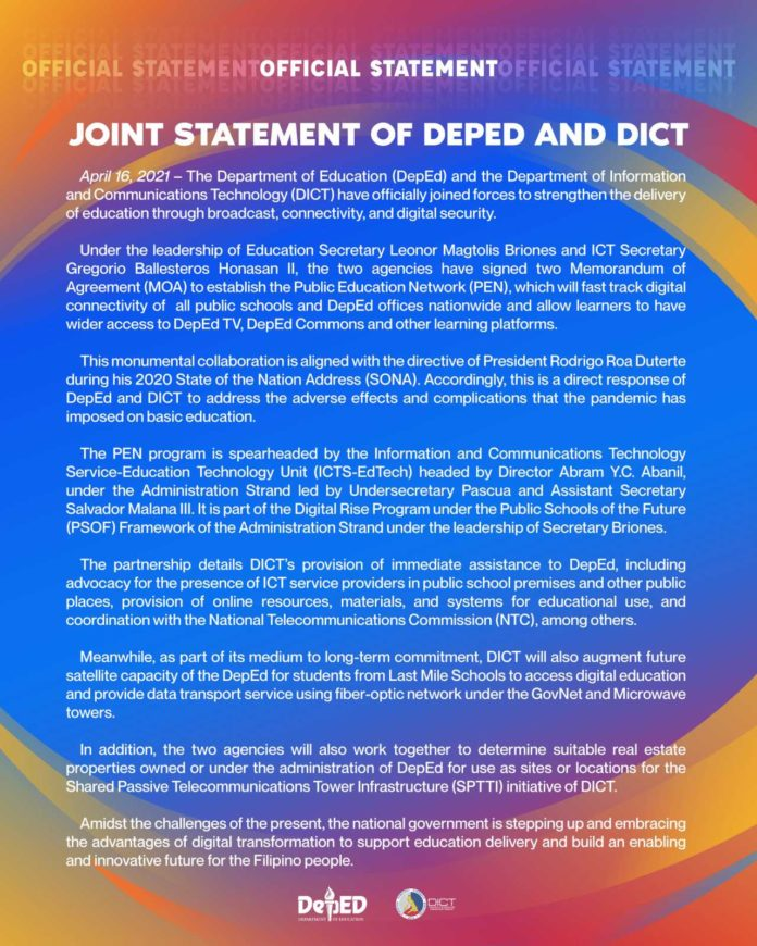 JOINT STATEMENT OF DEPED AND DICT
