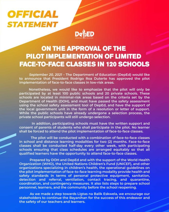 Official Statement on the approval of the pilot implementation