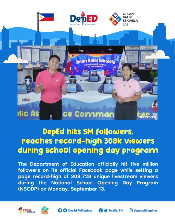 DepEd hits 5M followers reaches record-high 308k viewers during school opening day program