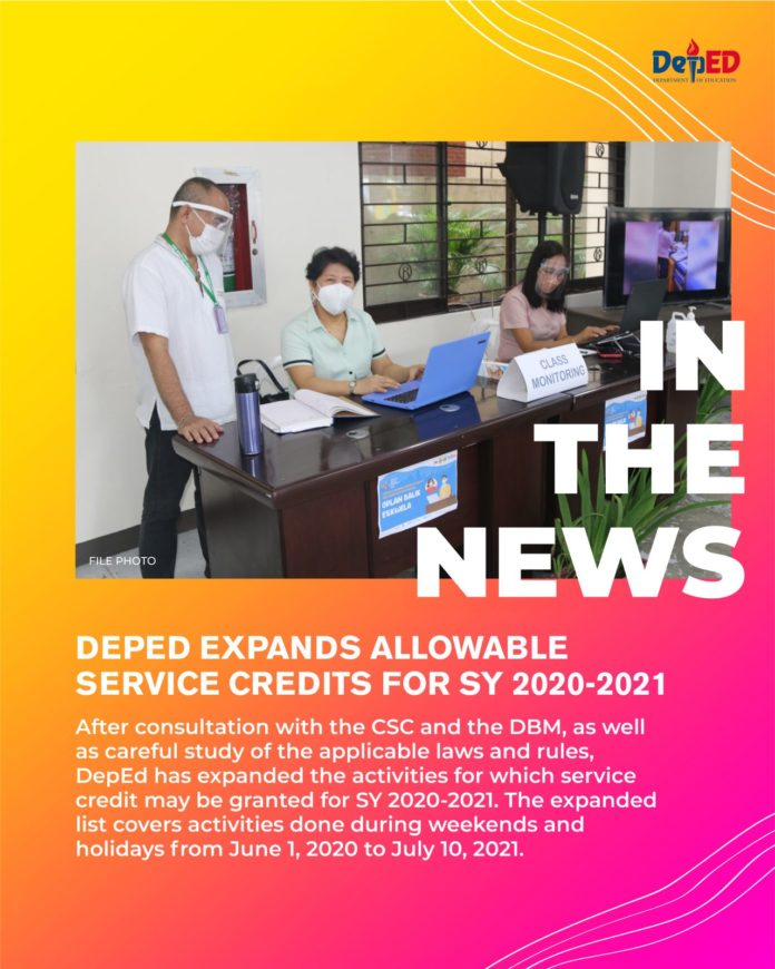 DepEd expands allowable service credits for SY 2020-2021